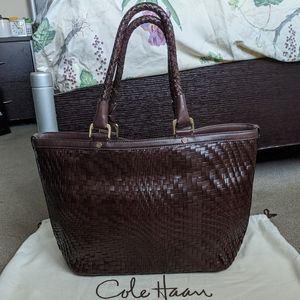 Cole Haan Genevieve Weave E/W Tote, Chocolate
